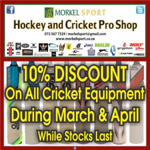 10% Discount on All Cricket Equipment.
